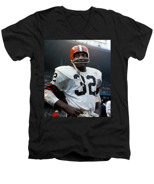 #32 Jim Brown Men's V-Neck T-Shirt