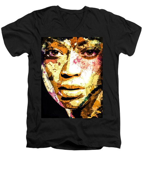 Men's V-Neck T-Shirt featuring the digital art Beyonce by Svelby Art