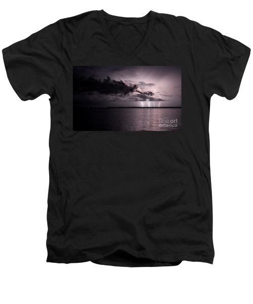 4 Bolts Over Captiva Island Men's V-Neck T-Shirt by Quinn Sedam
