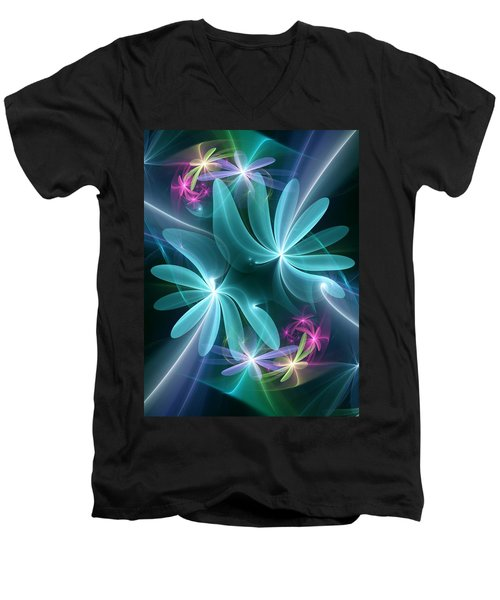 Ethereal Flowers Men's V-Neck T-Shirt by Svetlana Nikolova