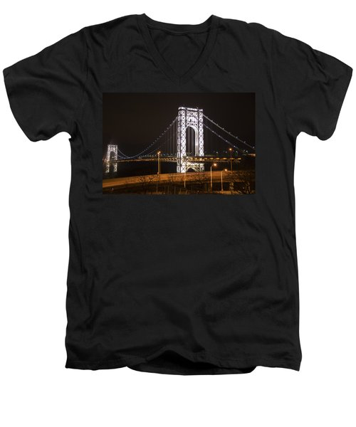 George Washington Bridge On President's Day Men's V-Neck T-Shirt