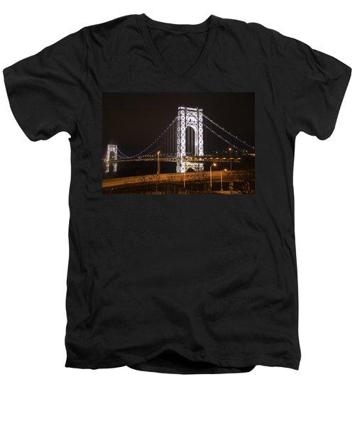 George Washington Bridge On President's Day Men's V-Neck T-Shirt