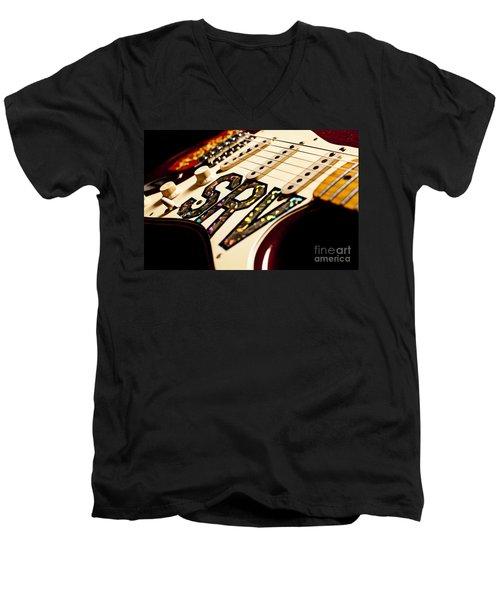 Replica Stevie Ray Vaughn Electric Guitar Artistic Men's V-Neck T-Shirt by Jani Bryson