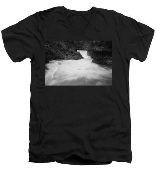 The Soteska Vintgar Gorge In Black And White Men's V-Neck T-Shirt