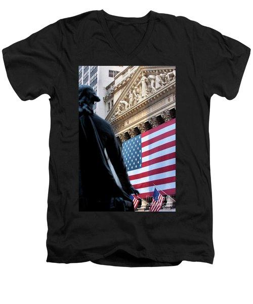 Wall Street Flag Men's V-Neck T-Shirt