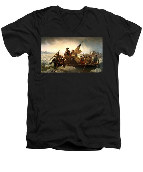 Men's V-Neck T-Shirt featuring the photograph Washington Crossing The Delaware by Emanuel Leutze