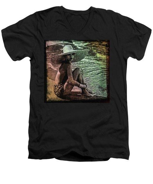 Rihanna Men's V-Neck T-Shirt by Svelby Art