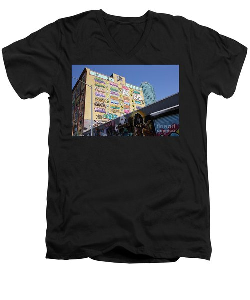5 Pointz Graffiti Art 2 Men's V-Neck T-Shirt by Allen Beatty