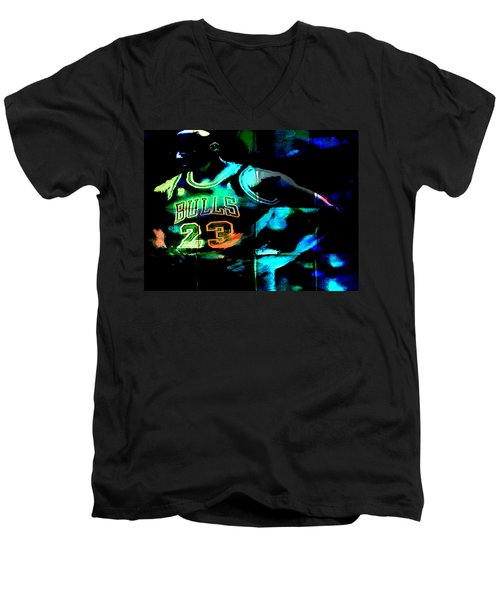 Men's V-Neck T-Shirt featuring the digital art 5 Seconds Left by Brian Reaves