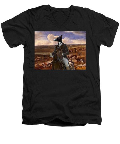 Whippet  Art Canvas Print Men's V-Neck T-Shirt
