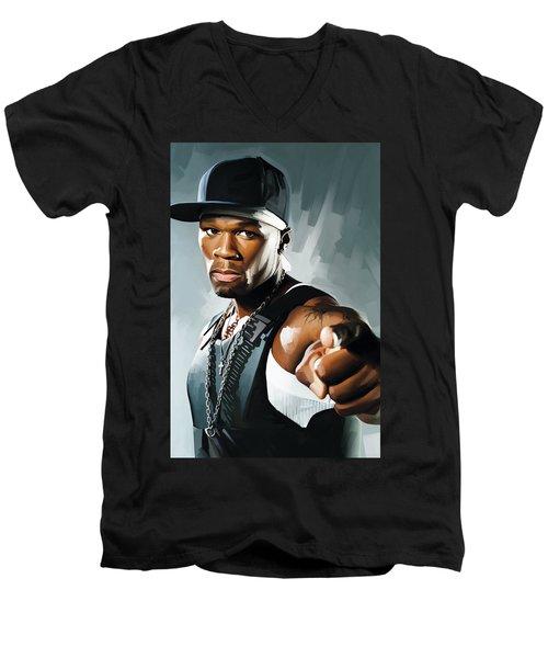 50 Cent Artwork 2 Men's V-Neck T-Shirt