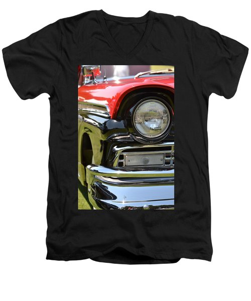 Men's V-Neck T-Shirt featuring the photograph 50's Ford by Dean Ferreira