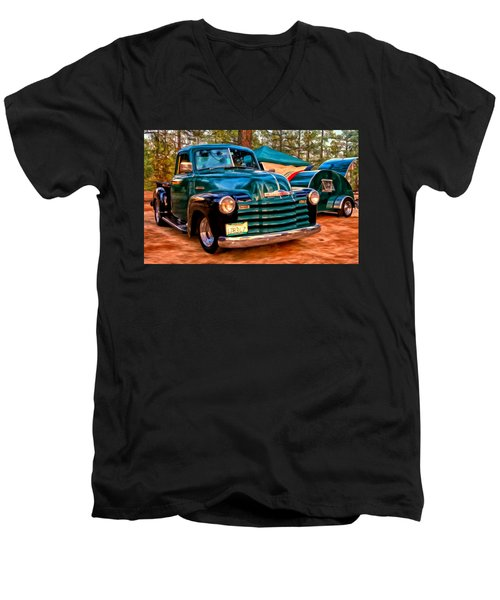'51 Chevy Pickup With Teardrop Trailer Men's V-Neck T-Shirt by Michael Pickett
