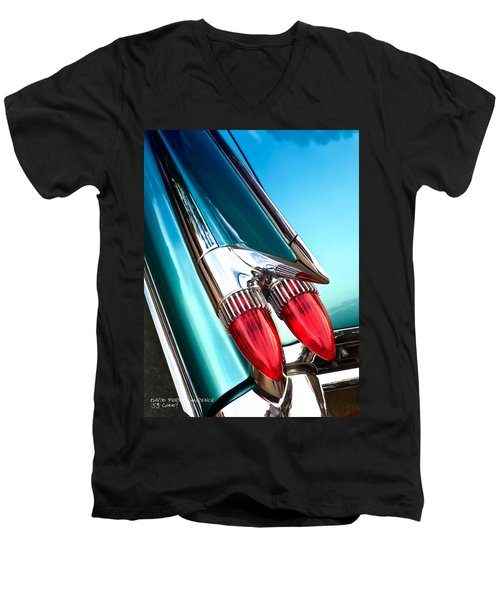 Men's V-Neck T-Shirt featuring the photograph '59  Caddy Tail Fins by David Perry Lawrence