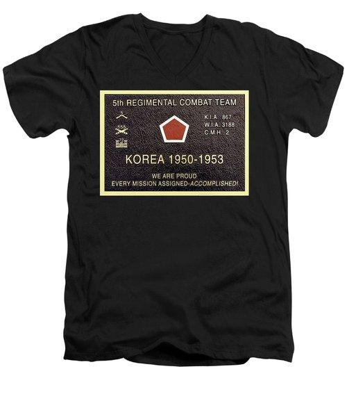 5th Regimental Combat Team Arlington Cemetary Memorial Men's V-Neck T-Shirt