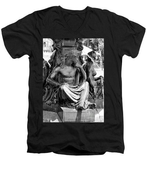 Brewer Fountain Boston Ma Black And White Men's V-Neck T-Shirt