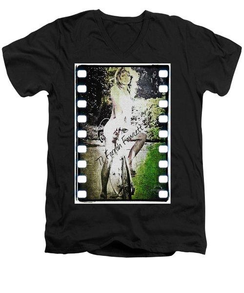 '77 Farrah Fawcett Men's V-Neck T-Shirt by Absinthe Art By Michelle LeAnn Scott