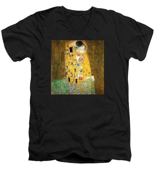 The Kiss Men's V-Neck T-Shirt by Gustav Klimt