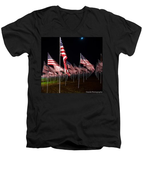 9-11 Flags Men's V-Neck T-Shirt by Gandz Photography