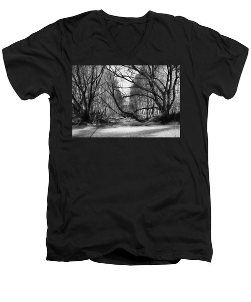 Men's V-Neck T-Shirt featuring the photograph 9 Black And White Artistic Painterly Icy Entrance Blocked By Braches by Leif Sohlman