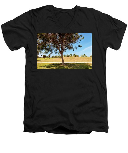 Men's V-Neck T-Shirt featuring the photograph 96 Degrees In Da Shade by Amar Sheow
