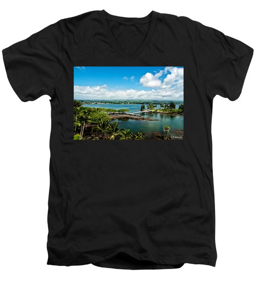 A Beautiful Day Over Hilo Bay Men's V-Neck T-Shirt by Christopher Holmes
