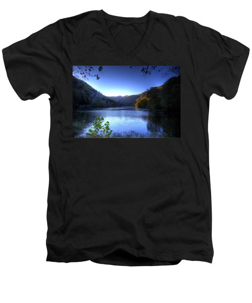 Men's V-Neck T-Shirt featuring the photograph A Blue Lake In The Woods by Jonny D