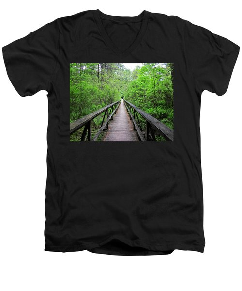 A Bridge To Somewhere Men's V-Neck T-Shirt by MTBobbins Photography