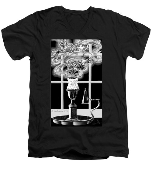 Men's V-Neck T-Shirt featuring the digital art A Candle Snuffed by Carol Jacobs