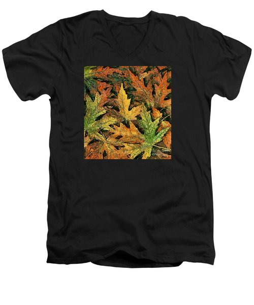 Men's V-Neck T-Shirt featuring the painting A Carpet Of  Falling Leaves by Dragica  Micki Fortuna
