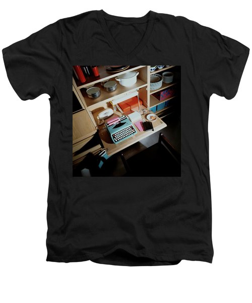 A Cupboard With A Blue Typewriter Men's V-Neck T-Shirt
