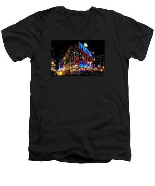 A December Evening At Macy's  Men's V-Neck T-Shirt by Chris Lord