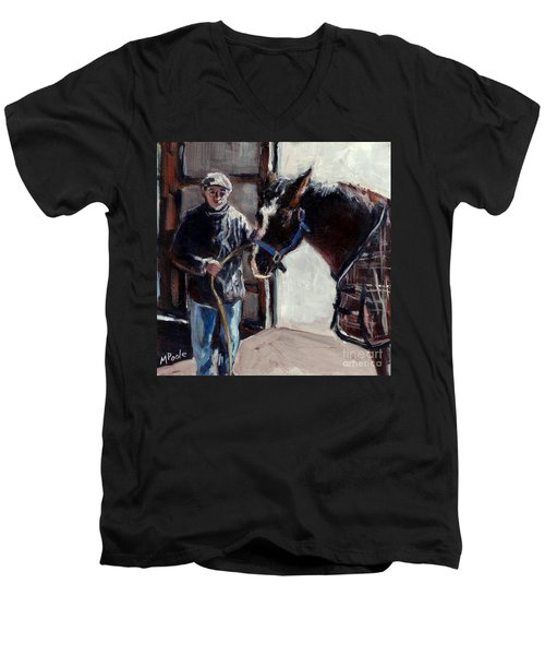 Men's V-Neck T-Shirt featuring the painting A Derby Day Of Sorts by Molly Poole