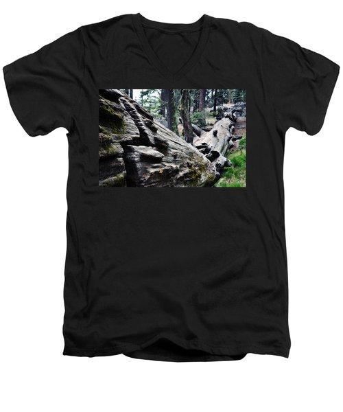 Men's V-Neck T-Shirt featuring the photograph A Fallen Giant Sequoia by Kyle Hanson