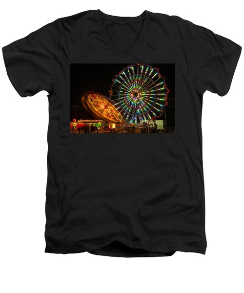 Men's V-Neck T-Shirt featuring the photograph Colorful Carnival Ferris Wheel Ride At Night by Jerry Cowart