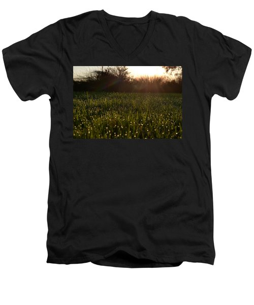 Men's V-Neck T-Shirt featuring the photograph A Field Of Jewels by Melanie Moraga