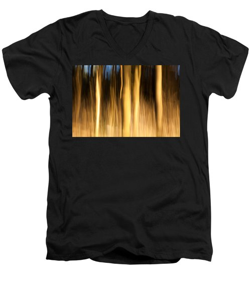 Men's V-Neck T-Shirt featuring the photograph A Fiery Forest by Davorin Mance