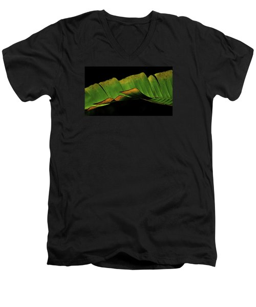 Men's V-Neck T-Shirt featuring the photograph A Floating Heliconia Leaf by Lehua Pekelo-Stearns