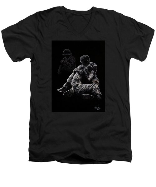 Men's V-Neck T-Shirt featuring the painting My Friend Killed In Korean War by Bob Johnston