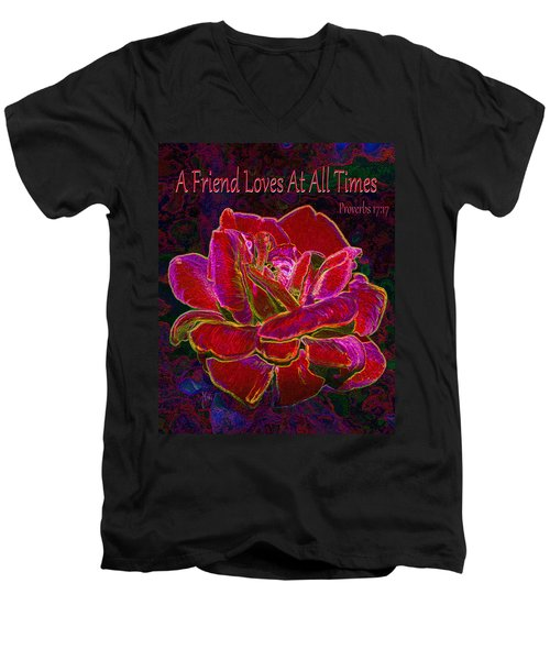 A Friend Loves At All Times Men's V-Neck T-Shirt by Michele Avanti