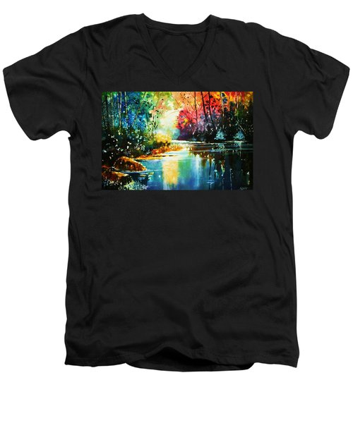 A Glow In The Forest Men's V-Neck T-Shirt
