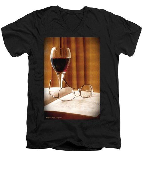 A Good Book And A Glass Of Wine Men's V-Neck T-Shirt