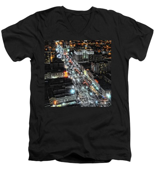 A Gothic Night In New Orleans On Canal Street Men's V-Neck T-Shirt by Kathleen K Parker
