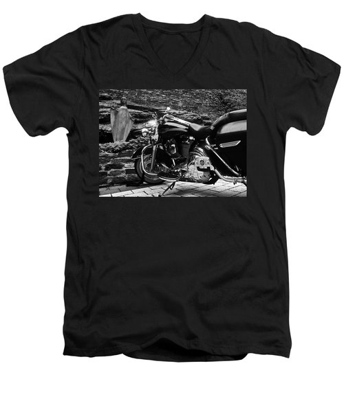 A Harley Davidson And The Virgin Mary Men's V-Neck T-Shirt by Andy Prendy