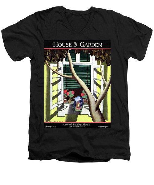 A House And Garden Cover Of A Birdcage Men's V-Neck T-Shirt