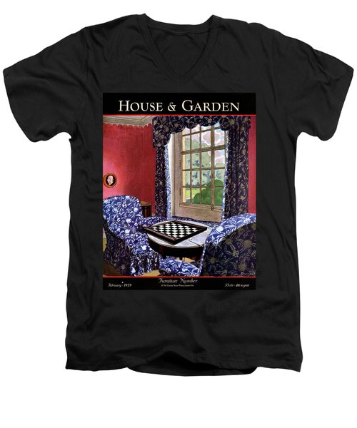 A House And Garden Cover Of A Country Living Room Men's V-Neck T-Shirt