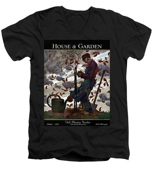 A House And Garden Cover Of A Gardener Men's V-Neck T-Shirt