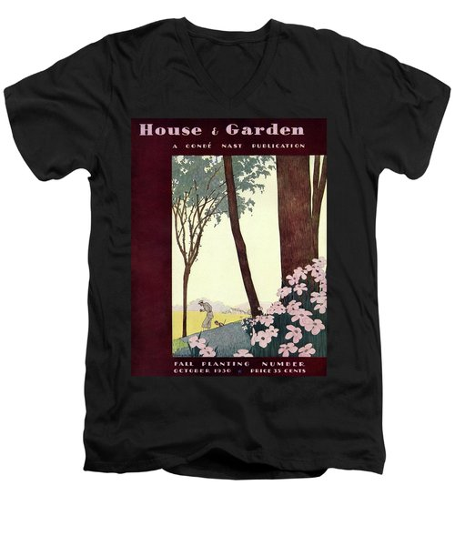 A House And Garden Cover Of A Rural Scene Men's V-Neck T-Shirt