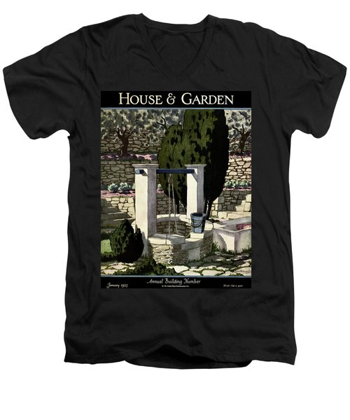 A House And Garden Cover Of A Well Men's V-Neck T-Shirt
