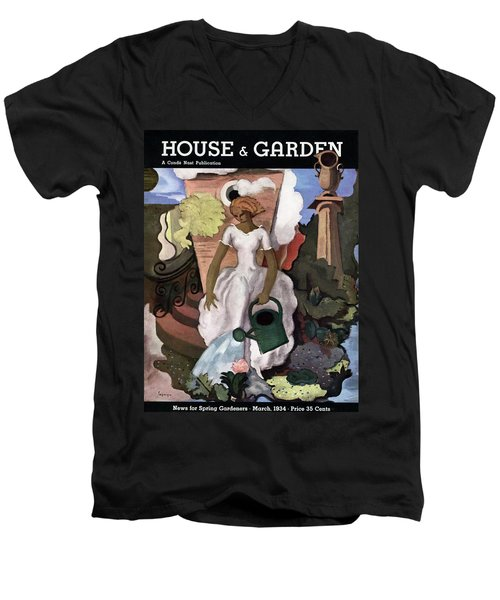 A House And Garden Cover Of A Woman Watering Men's V-Neck T-Shirt